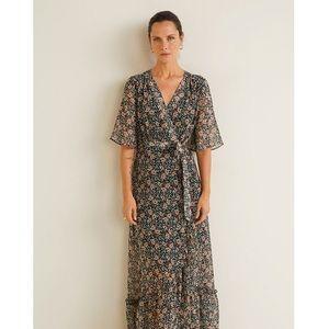Mango Dark Floral Wrap Maxi Dress